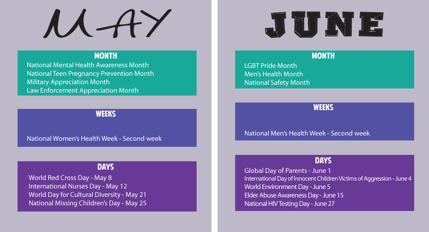 Safety Calendar Ideas : Calendar of health awareness months just b use